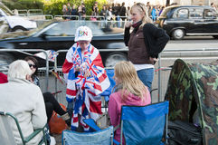 Royal Wedding 2011 Campers Royalty Free Stock Photos
