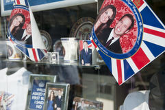 Royal Wedding 2011 Memorabilia. LONDON - APRIL 24: Souvenir shops selling memorabilia for Prince William and Catherine Middleton's royal wedding celebration to Royalty Free Stock Images