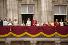 The Royal Wedding. This is the picture of whole royal family on the balcony during the wedding of Prince William and Kate Middleton. This capture the family stock images