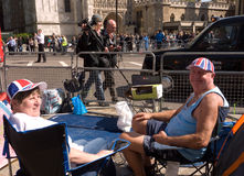 Royal Wedding campers, Westminster Abbey. Royalty Free Stock Photo