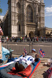 Royal Wedding campers, Westminster Abbey. Royalty Free Stock Photography