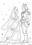 Royal wedding. Coloring page with prince and Cinderella Royalty Free Stock Images
