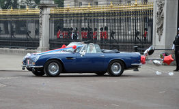 Royal Wedding - The couple leave in a DB5 Royalty Free Stock Photography
