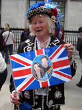 Royal Wedding fan. A fan of the royal wedding. Photo taken in London in front of Westminster Abbey, April 28, 2011 stock photos