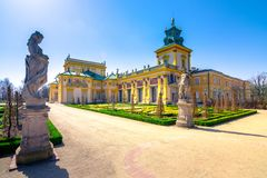 The royal Wilanow Palace in Warsaw, Poland. stock photo