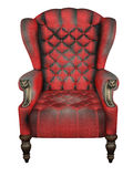 Royal Wing Back Chair. Luxury antique style wing-back royal chair with grunge leather upholstery and decorative knobs. 3d illustration Royalty Free Stock Photos