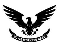 Royal Workers Gang label design. With hand drawn eagle. Coat of arms. Good for posters, t-shirts, greeting cards etc. Symbol of workers freedom. Vector Stock Photos