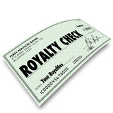 Royalty Check Commission Income Percentage Revenue Sales. Royalty Check words on paper money issued for interest, percentage, share, income, revenue or earnings Royalty Free Stock Photography