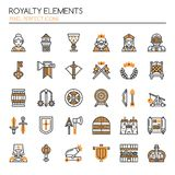 Royalty Elements. Thin Line and Pixel Perfect Icons Royalty Free Stock Images