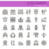 Royalty Elements. Thin Line and Pixel Perfect Icons Stock Photo