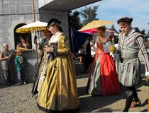 Royalty at the Faire. BUCKLEY, WA - AUGUST 4: The Washington Renaissance and Fantasy Faire opens its gates with pomp and ceremony stock photo