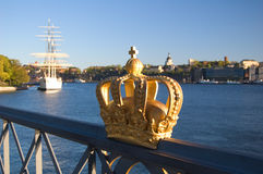 Royalty golden crown. In Stockholm stock images