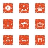 Royalty money icons set, grunge style. Royalty money icons set. Grunge set of 9 royalty money vector icons for web isolated on white background Royalty Free Stock Photos