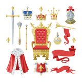 Royalty vector golden royal crown symbol of king queen and princess illustration sign of crowning prince authority set. Of knightman helmet and throne isolated vector illustration