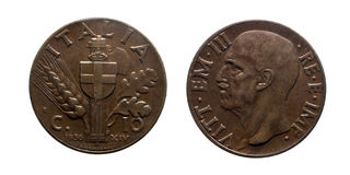 Royaume 1936 de Vittorio Emanuele III d'empire de pièce de monnaie en cuivre de Dix 10 Lires de cents de l'Italie Image stock