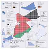 Royaume hachémite de Dot And Flag Map Of de Jordan Infographic Photographie stock