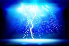 rozładowanie elektryczny Lekki przedstawienie przy nocą również zwrócić corel ilustracji wektora ilustracja wektor