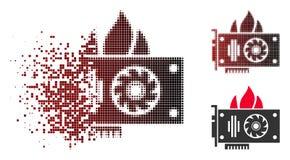 Rozłożonego piksla Halftone oparzenie karty graficznej Wideo ikona ilustracji