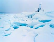 Rozbebeszający jeziorny brzeg lodu zimy krajobraz Obraz Stock
