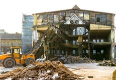 Rozbiórka stary fabryczny budynek Obrazy Stock