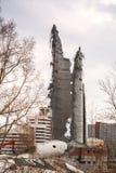 Rozbiórka zaniechany telewizi wierza w Ekaterinburg w 24th Marzec 2018 resztki zniszczony wierza Fotografia Royalty Free