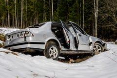 Rozbijający i porzucający samochód Zdjęcie Royalty Free