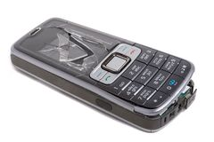 rozbijający telefon komórkowy Fotografia Stock