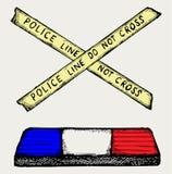 Rozblaskowa policja i taśma ilustracja wektor