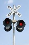 rozblaskowych świateł linia kolejowa Zdjęcie Royalty Free