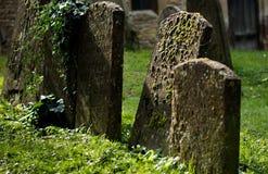 Rozbrajający wizerunek Headstones w cmentarzu Obrazy Stock