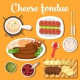 Rozciekły serowy szwajcar lub włoch, francuski fondue z chlebem Fotografia Stock