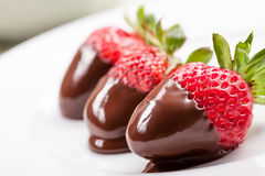 rozciekłe czekolad truskawki Fotografia Stock
