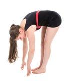 Rozciąganie sprawności fizycznej kobieta dotyka podłoga z ona palce Obrazy Royalty Free