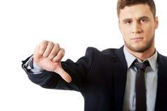 Rozczarowany biznesowy mężczyzna z kciuka puszkiem Zdjęcie Royalty Free