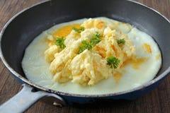 Rozdrapani jajka słuzyć w nieociosanym piórze Obraz Royalty Free
