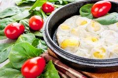 Rozdrapani przepiórek jajka z szpinakiem i pomidorami. Indoors zbliżenie. Obrazy Royalty Free