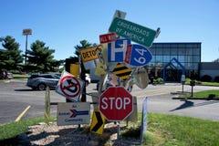 Rozdroża Ameryka Roadsign, Mount Vernon Illinois obrazy royalty free