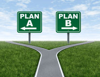 Rozdroża z planu A planu B drogą podpisują Zdjęcie Royalty Free