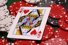 rozdrobnione w pokera królową serce Obrazy Royalty Free