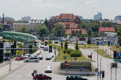 Rozdzienskiego Avenue intersection with the street Jerzy Duda - Gracza in Katowice. Katowice, Poland - July 10, 2016: Crossing the street Avenue Rozdzienskiego Royalty Free Stock Image
