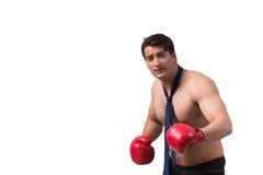 Rozdzierający biznesmen z bokserskimi rękawiczkami odizolowywać na bielu Obrazy Royalty Free