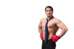 Rozdzierający biznesmen z bokserskimi rękawiczkami odizolowywać na bielu Fotografia Royalty Free
