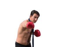 Rozdzierający biznesmen z bokserskimi rękawiczkami odizolowywać na bielu Obrazy Stock