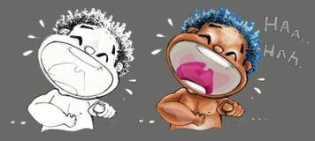 Roześmianej amerykanin afrykańskiego pochodzenia kreskówki charakteru śliczny działający projekt obraz royalty free