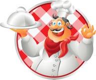 Roześmianego popiersie szefa kuchni stołowy płótno Zdjęcie Stock