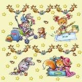 Roześmiani śmieszni zwierzęta na barwionym tle ilustracja wektor