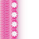 Roze achtergrond met bloemen van parels en plaats voor tekst Stock Foto's