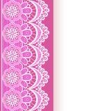 Roze achtergrond met een strook van kant en plaats voor tekst Stock Foto's