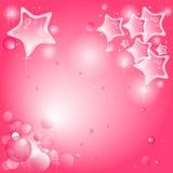 Roze achtergrond met sterren en bellen Stock Afbeelding