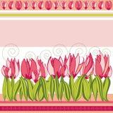 Roze achtergrond met tulpen en strepen stock illustratie